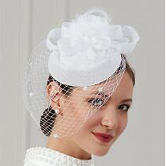 Feathers / Net Fascinators / Hats / Headwear with Feather / Cap / Flower 1 Piece Wedding / Special Occasion Headpiece