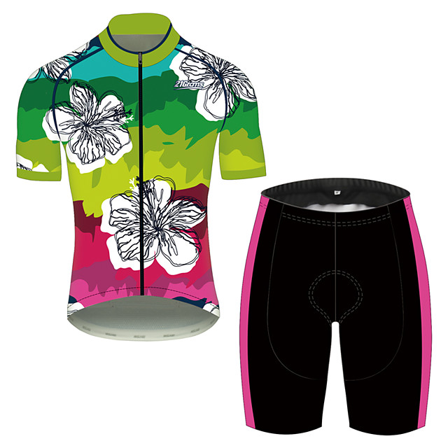 21Grams Men's Short Sleeve Cycling Jersey with Shorts Black / Green Floral Botanical Bike Clothing Suit UV Resistant Breathable 3D Pad Quick Dry Sweat-wicking Sports Solid Color Mountain Bike MTB
