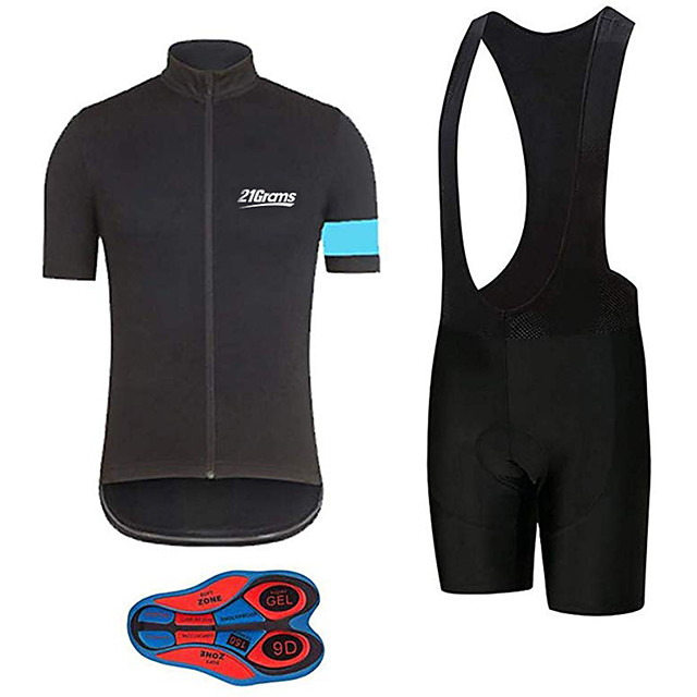 21Grams Men's Short Sleeve Cycling Jersey with Bib Shorts Polyester Spandex Black / Blue Bike Clothing Suit UV Resistant Breathable 3D Pad Quick Dry Sweat-wicking Sports Solid Color Mountain Bike MTB