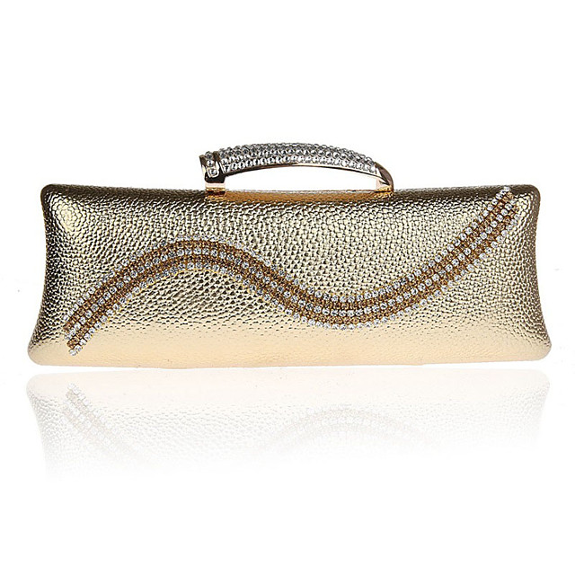 Women's Crystals Polyester / PU Evening Bag Solid Color Gold / Silver / Gray