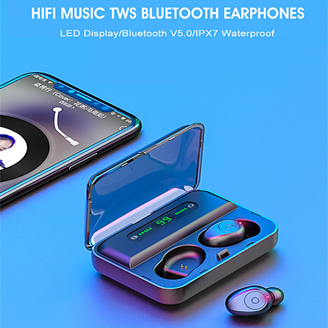 LITBest F9 TWS True Wireless Earbuds Wireless Bluetooth 5.0 Stereo with Volume Control with Charging Box Waterproof IPX7 Mobile Power for Smartphones for Sport Fitness