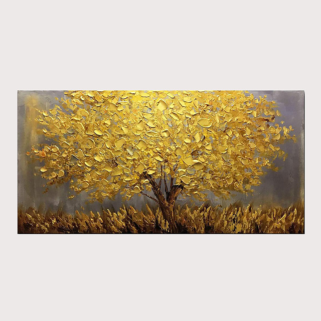 Oil Painting Abstract Golden Tree 3D Hand Painted on Canvas Texture Palette Knife Paintings with Stretched Frame for Home Decor