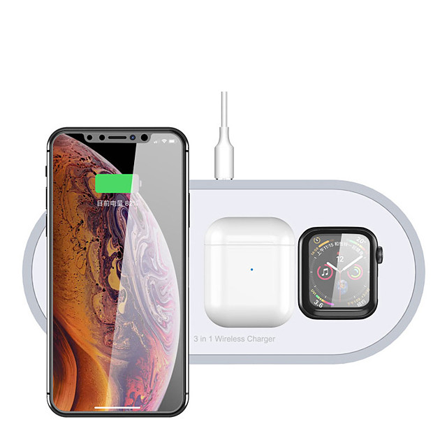 3-in-1 Qi Wireless Charger for  Airpods Apple Watch and Phones with