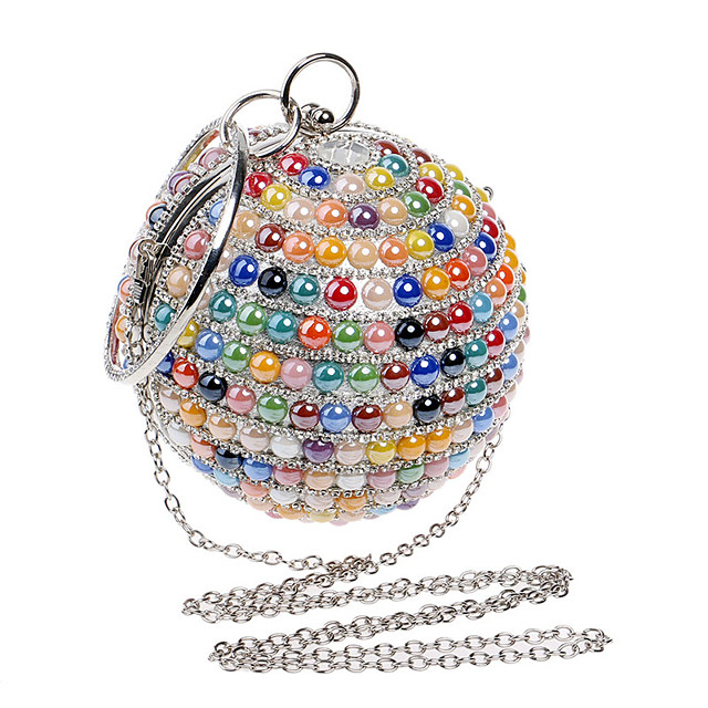 Women's Crystals / Chain Polyester / Alloy Evening Bag Color Block White / Champagne / Blue