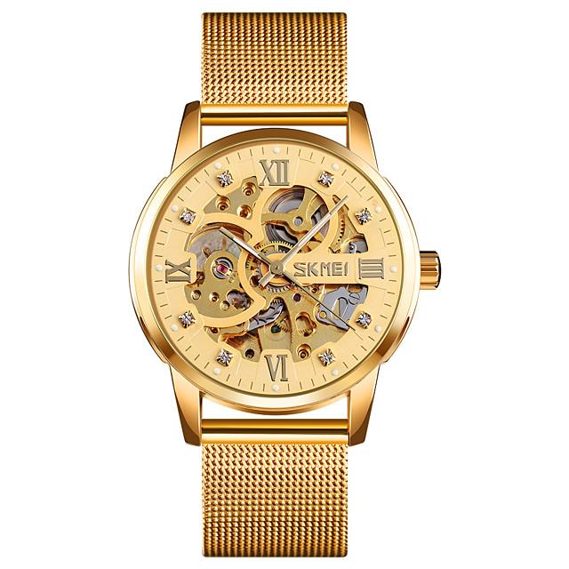 SKMEI 9199 Gold Mechanical Watch Full Skeleton Stainless Steel watch