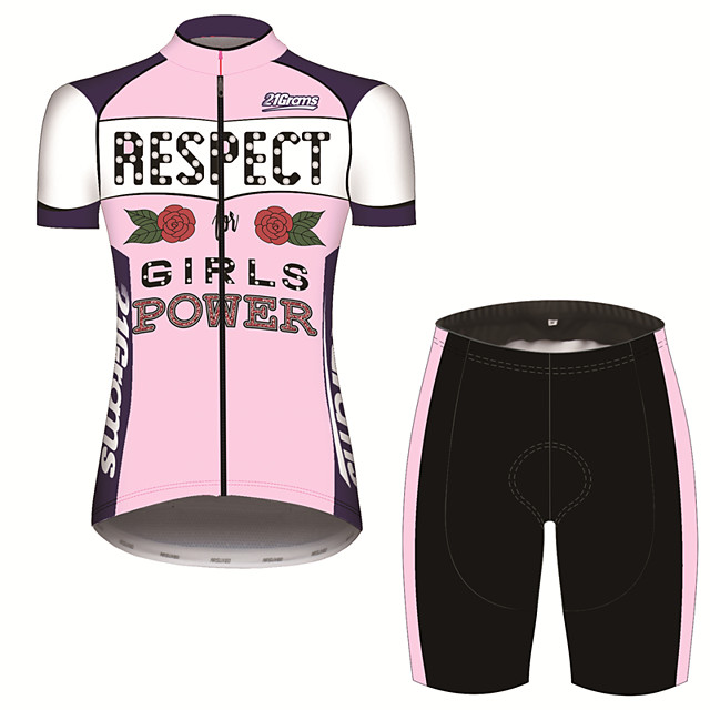 21Grams Women's Short Sleeve Cycling Jersey with Shorts Pink / Black Floral Botanical Rose Bike Clothing Suit Breathable 3D Pad Quick Dry Ultraviolet Resistant Sweat-wicking Sports Floral Botanical