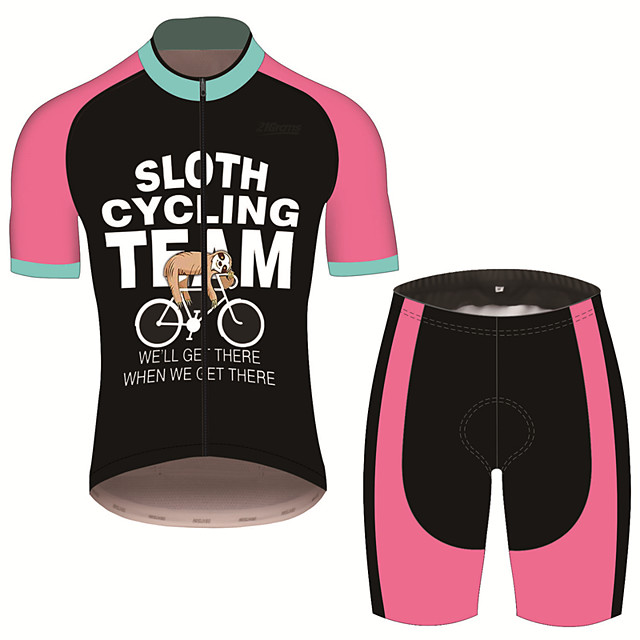 21Grams Men's Short Sleeve Cycling Jersey with Shorts Spandex Polyester Pink / Black Animal Sloth Bike Clothing Suit UV Resistant Breathable 3D Pad Quick Dry Sweat-wicking Sports Patterned Mountain