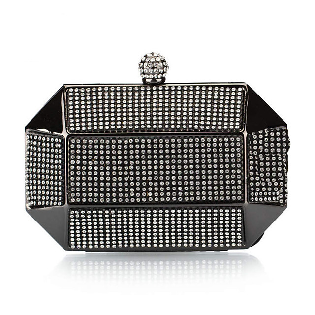 Women's Crystals Polyester / Alloy Evening Bag Solid Color Black / Gold / Silver