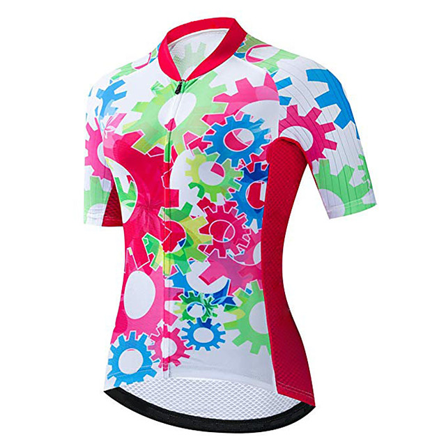 21Grams Women's Short Sleeve Cycling Jersey Red / White Gear Bike Jersey Top Mountain Bike MTB Road Bike Cycling UV Resistant Breathable Quick Dry Sports Clothing Apparel / Stretchy / Race Fit