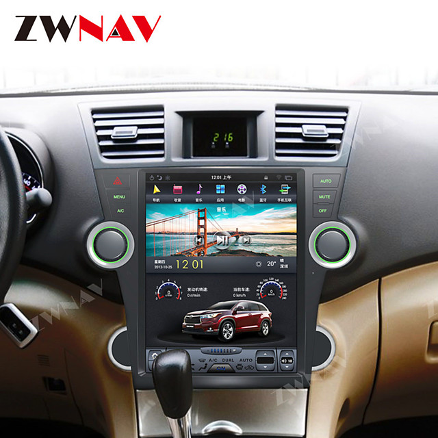 ZWNAV 12.1 Inch 1DIN Android 8.1 4GB 64GB Tesla style Car DVD Player GPS Navigation auto Car multimedia player For Toyota Highlander 2007-2013