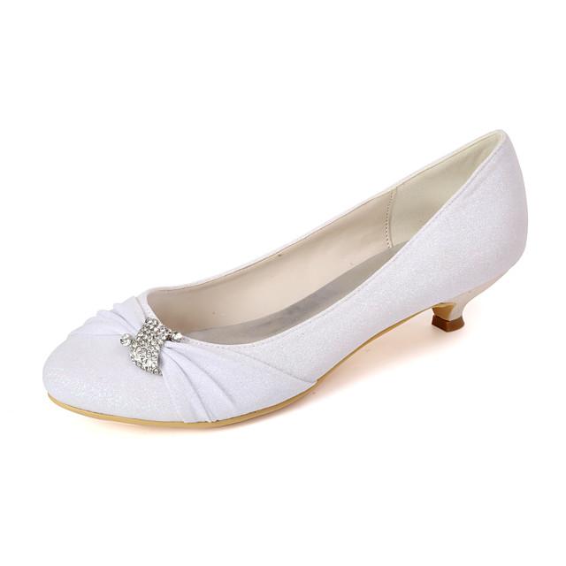Women's Wedding Shoes Kitten Heel Round Toe Rhinestone Synthetics Sweet Fall / Spring & Summer White / Champagne / Light Purple / Party & Evening