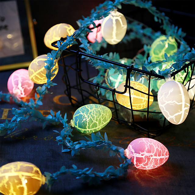 Easter Egg-Shaped Light String and Rattan Colorful Party Decoration Lighting 1.5M 10 Lights-Without Battery