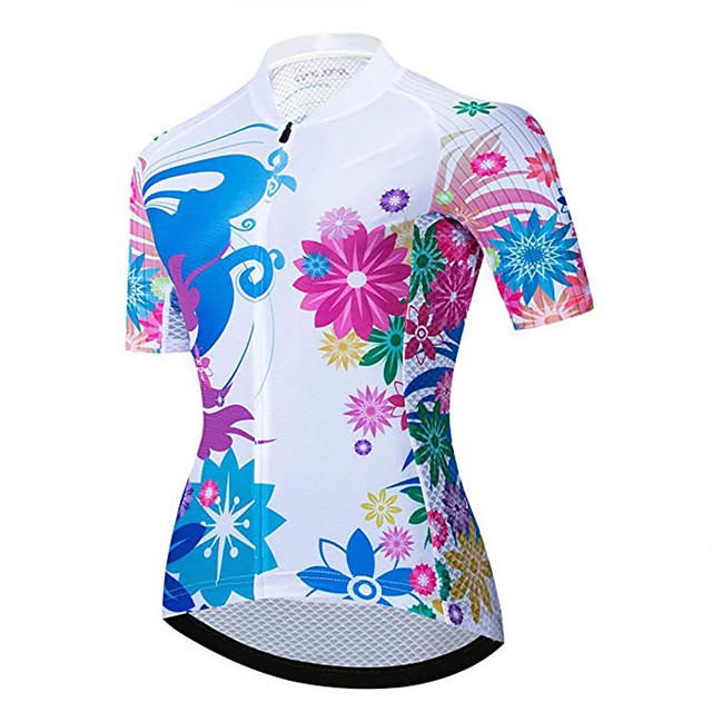 21Grams Women's Short Sleeve Cycling Jersey Red / White Floral Botanical Bike Jersey Top Mountain Bike MTB Road Bike Cycling UV Resistant Breathable Quick Dry Sports Clothing Apparel / Stretchy