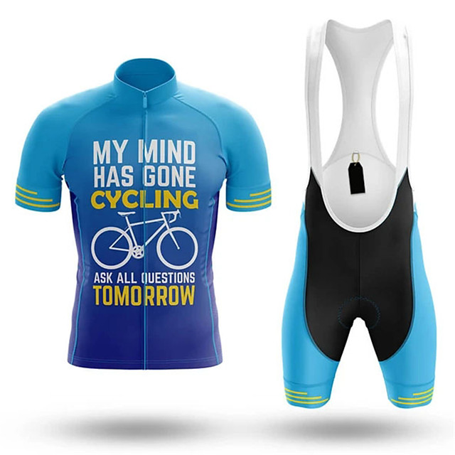 21Grams Men's Short Sleeve Cycling Jersey with Bib Shorts Blue Stripes Bike Clothing Suit UV Resistant Breathable 3D Pad Quick Dry Sweat-wicking Sports Stripes Mountain Bike MTB Road Bike Cycling