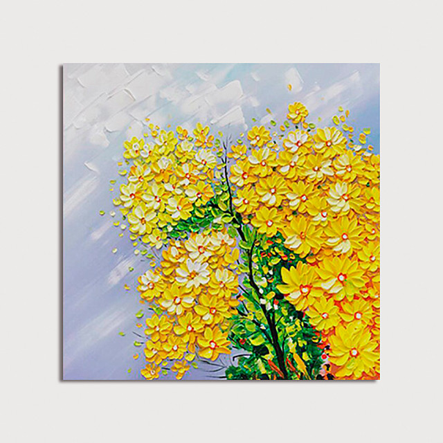 Hand Painted Canvas Oilpainting Abstract Flowers by Knife Home Decoration with Frame Painting Ready to Hang