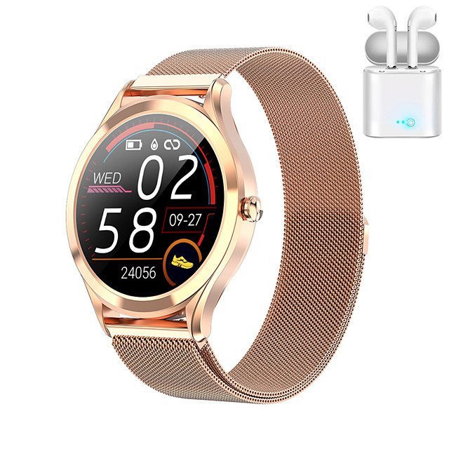 JSBP MK10 Smart Watch BT Fitness Tracker Support Notify/Heart Rate Monitor Sport Stainless Steel Bluetooth Smartwatch Compatible IOS/Android Phones TWS Distribution Ear Machine