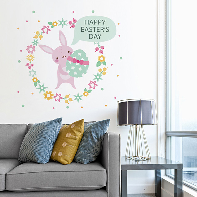 Decorative Wall Stickers - Plane Wall Stickers / Holiday Wall Stickers Animals / Holiday Nursery / Kids Room Easter Rabbit Egg Wall Sticker For Children'S Room Bedroom