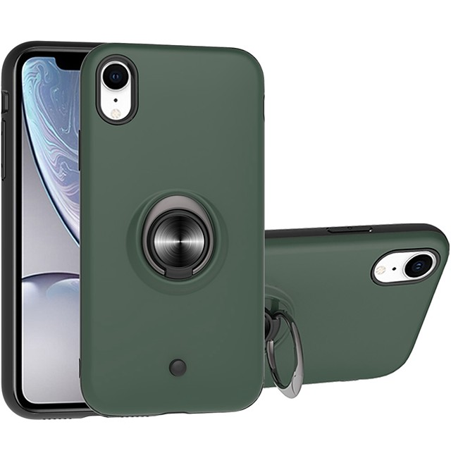 Case For Apple iPhone 11 / iPhone 11 Pro / iPhone 11 Pro Max Two-in-one Ring Holder Gyro decompression Back Cover Solid Colored TPU / PC For iPhone XR/XS Max/XS/X/7/8 Plus/6/6s Plus