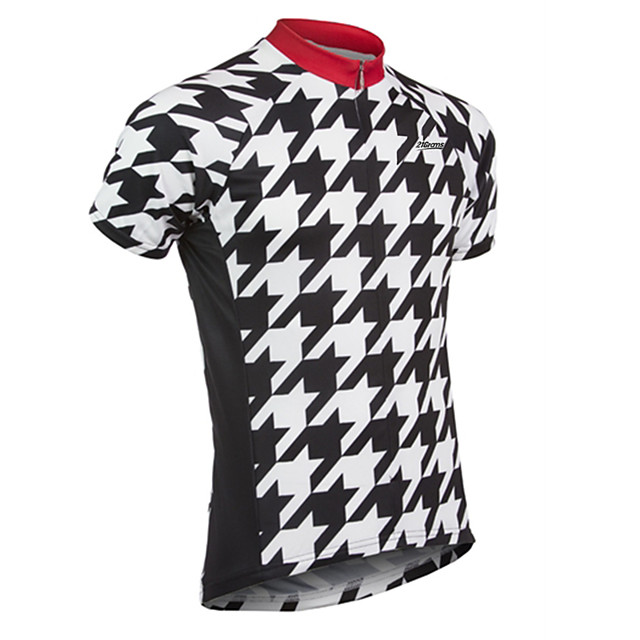 21Grams Men's Short Sleeve Cycling Jersey Spandex Polyester Black / White Plaid / Checkered Bike Jersey Top Mountain Bike MTB Road Bike Cycling UV Resistant Breathable Quick Dry Sports Clothing