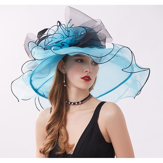 Vintage Style Fashion Tulle / Organza Hats / Headwear with Rhinestone / Feather / Bowknot 1 Piece Wedding / Outdoor Headpiece