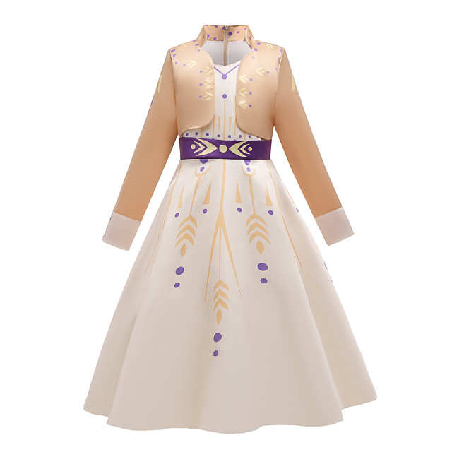 Princess Anna Dress Flower Girl Dress Girls' Movie Cosplay Cosplay Costume Party Purple (With Accessories) / Beige Dress Polyster