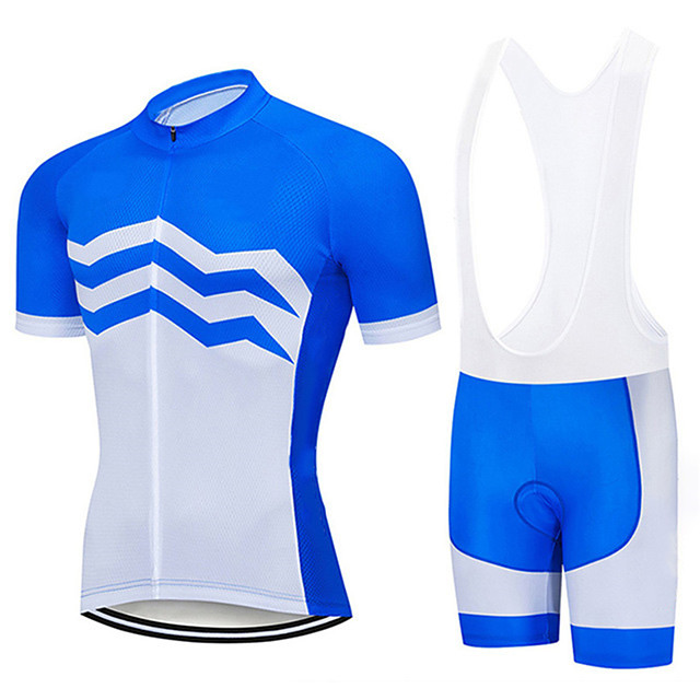 21Grams Men's Short Sleeve Cycling Jersey with Bib Shorts Blue / White Stripes Bike Clothing Suit UV Resistant Breathable 3D Pad Quick Dry Sweat-wicking Sports Solid Color Mountain Bike MTB Road Bike
