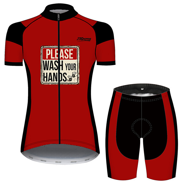 21Grams Women's Short Sleeve Cycling Jersey with Shorts Black / Red Patchwork Bike Clothing Suit Breathable 3D Pad Quick Dry Ultraviolet Resistant Sweat-wicking Sports Solid Color Mountain Bike MTB
