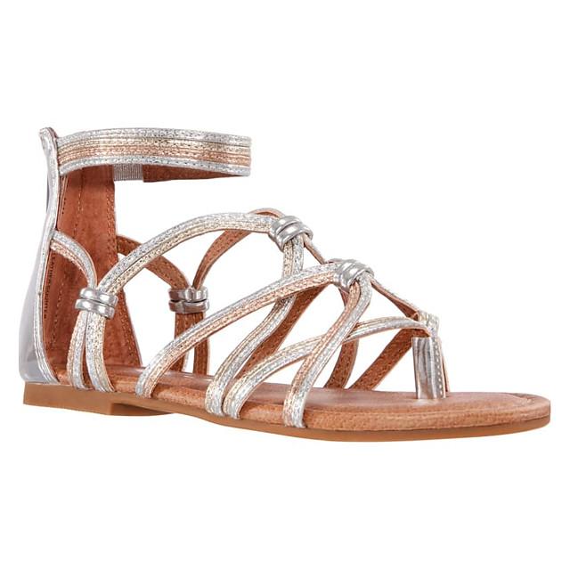 Women's Wedding Shoes Spring & Summer Flat Heel Round Toe Wedding Polyester Silver