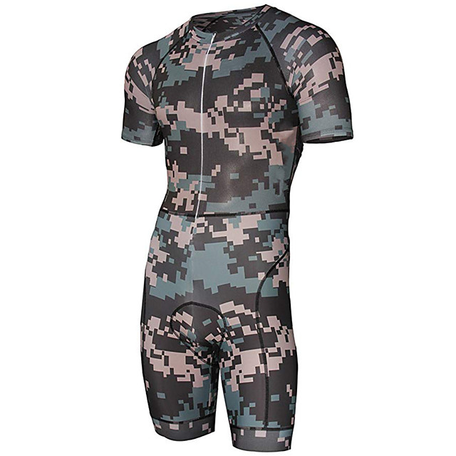 21Grams Men's Short Sleeve Triathlon Tri Suit Polyester Spandex Camouflage Geometic Camo / Camouflage Bike Clothing Suit UV Resistant Breathable 3D Pad Quick Dry Sweat-wicking Sports Solid Color