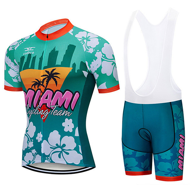 21Grams Men's Short Sleeve Cycling Jersey with Bib Shorts Spandex Polyester Green Floral Botanical Miami Bike Clothing Suit UV Resistant Breathable 3D Pad Quick Dry Sweat-wicking Sports Floral