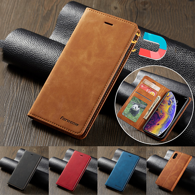 Forwenw Luxury Leather Magnetic Flip Case for Samsung Galaxy S21+ S20 Ultra S10 Plus A51 5G A71 A81 A91 A10 A20 A30 A40 A50 A70 A30S A50S A70S A20E A7 2018 S10 S10E S10 Lite S10+