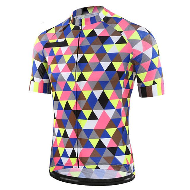 21Grams Men's Short Sleeve Cycling Jersey Blue+Pink Plaid / Checkered Bike Jersey Top Mountain Bike MTB Road Bike Cycling UV Resistant Breathable Quick Dry Sports Clothing Apparel / Stretchy