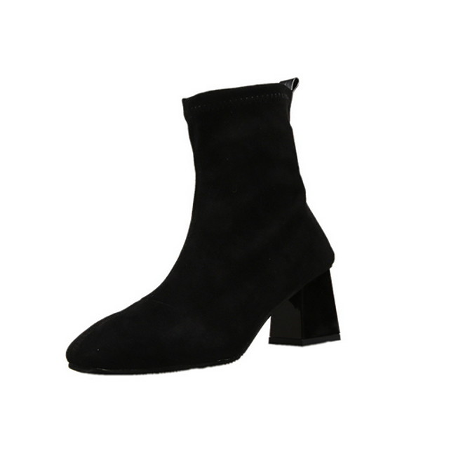 Women's Boots Chunky Heel Round Toe Suede Booties / Ankle Boots Fall & Winter Yellow / Red / Black / Color Block