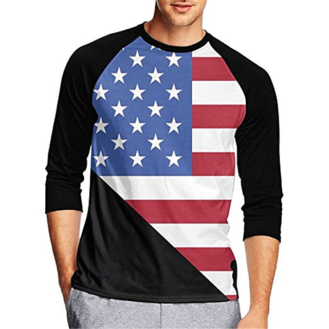 21Grams Men's Long Sleeve Cycling Jersey Downhill Jersey Dirt Bike Jersey Red+Blue American / USA Stars National Flag Bike Jersey Top Mountain Bike MTB Road Bike Cycling UV Resistant Breathable Quick