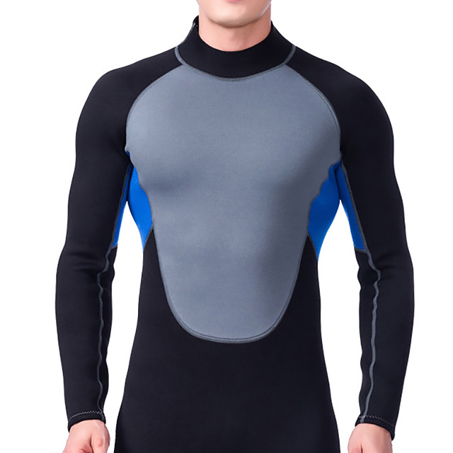 Men's Full Wetsuit 3mm SCR Neoprene Diving Suit Thermal / Warm Stretchy Long Sleeve Back Zip - Diving Water Sports Patchwork Autumn / Fall Spring Summer / Winter / High Elasticity