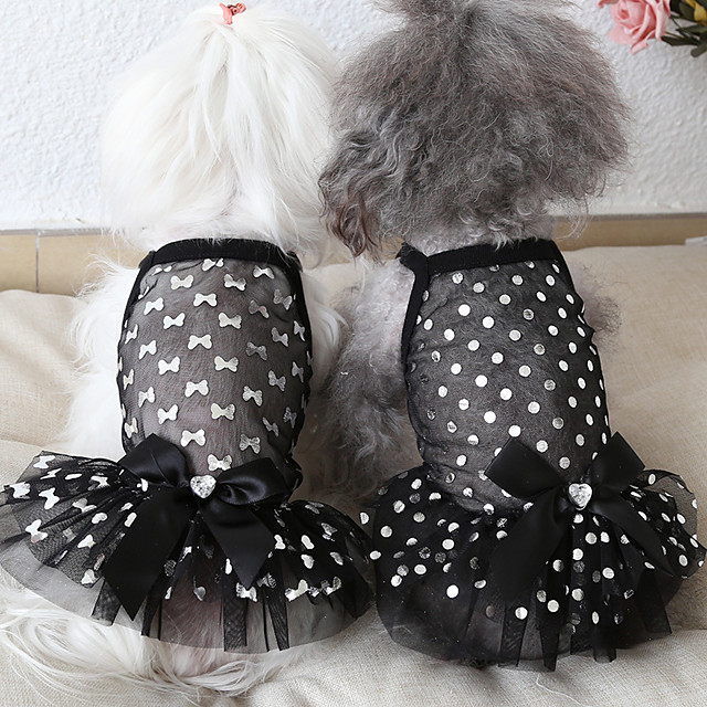 Dog Costume Dress Dog Clothes Breathable Rainbow White Black Costume Beagle Bichon Frise Chihuahua Fabric Polka Dot Voiles & Sheers Bowknot Stylish Casual / Sporty XS S M L XL
