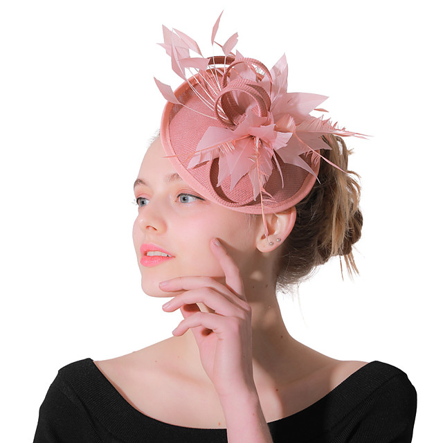 Headwear Wedding Polyester Fascinators / Hats / Headwear with Feather / Cap 1 Piece Wedding / Party / Evening Headpiece