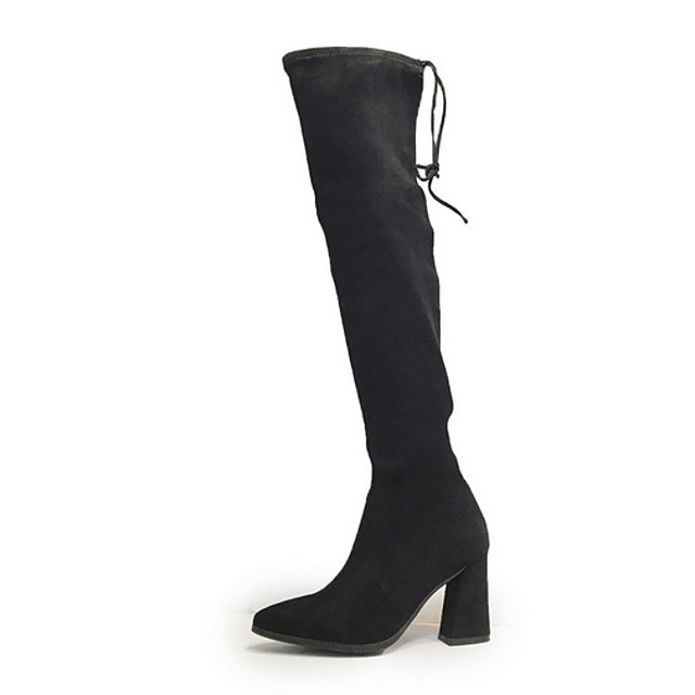 Women's Boots Chunky Heel Round Toe Suede Over The Knee Boots Fall & Winter Black