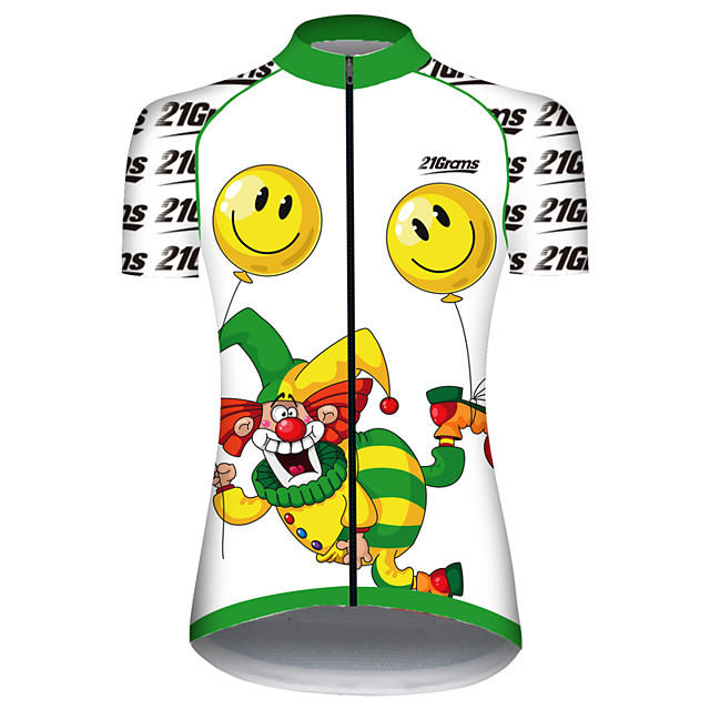 21Grams Women's Short Sleeve Cycling Jersey Black / White Balloon Funny Clown Bike Jersey Top Mountain Bike MTB Road Bike Cycling UV Resistant Breathable Quick Dry Sports Clothing Apparel / Stretchy