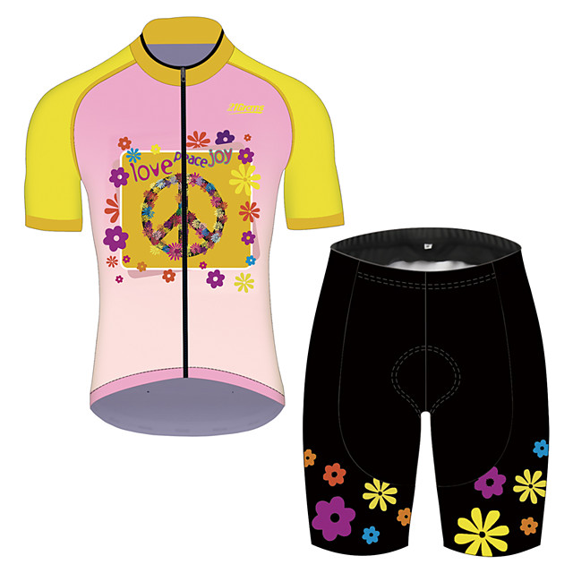 21Grams Men's Short Sleeve Cycling Jersey with Shorts Pink / Black Gradient Floral Botanical Bike Clothing Suit UV Resistant Breathable 3D Pad Quick Dry Sweat-wicking Sports Solid Color Mountain Bike