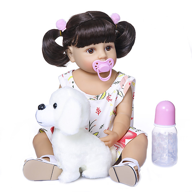 22 inch Reborn Doll Baby Baby Girl Gift Cute Artificial Implantation Brown Eyes Full Body Silicone Silicone Silica Gel with Clothes and Accessories for Girls' Birthday and Festival Gifts