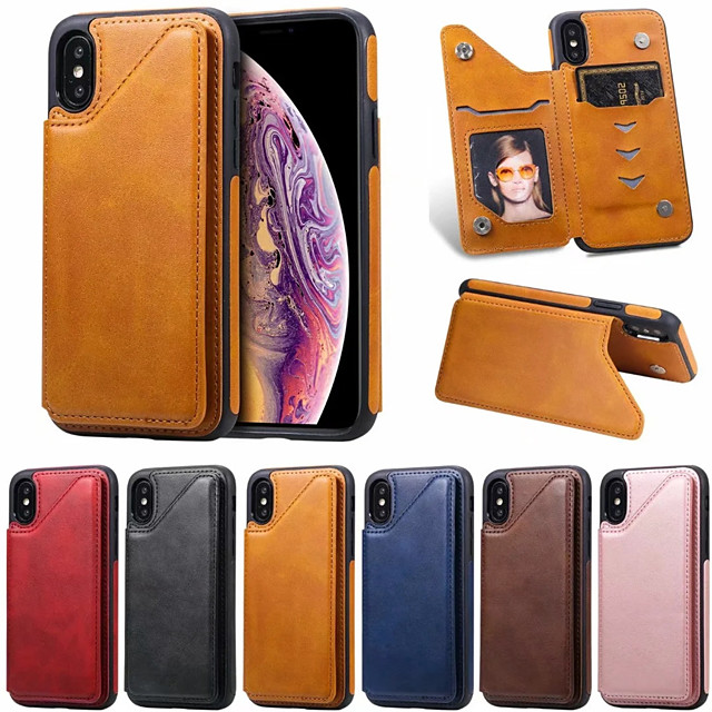 Case For Apple iPhone XR / iPhone XS Max / iphone X / XS Card Holder / Shockproof Back Cover Solid Colored PU Leather