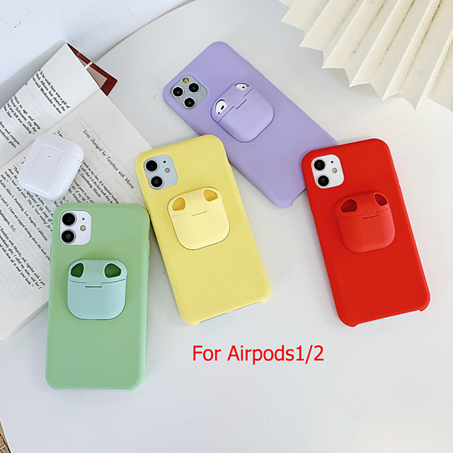 iPhone11Pro Max Bluetooth Earphones Airpods 1/2 Generation Storage Case Mobile Phone Case XS Max Pure Color Liquid Silicone 6/7 / 8Plus Drop Protection Case