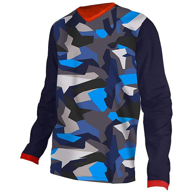21Grams Men's Long Sleeve Cycling Jersey Downhill Jersey Dirt Bike Jersey Polyester Spandex Navy Camo / Camouflage Bike Jersey Top Mountain Bike MTB Road Bike Cycling UV Resistant Breathable Quick Dry
