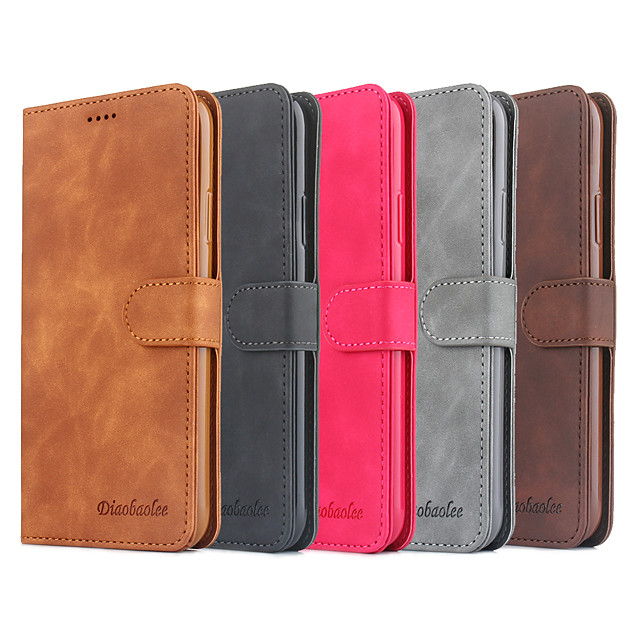 iPhone11Pro Max Fresh Pure Color Clamshell Leather Case Mobile Phone Case XS Max Pluggable Wallet Type Shatterproof 6/7 / 8Plus Protective Case