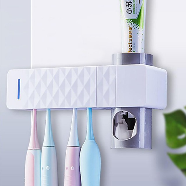 UV Toothbrush Sterilizer Holder Family Wall Mount Automatic Toothpaste Dispenser