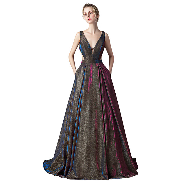 Ball Gown Sparkle Purple Prom Formal Evening Dress V Neck Sleeveless Sweep / Brush Train Spandex with Pleats 2020