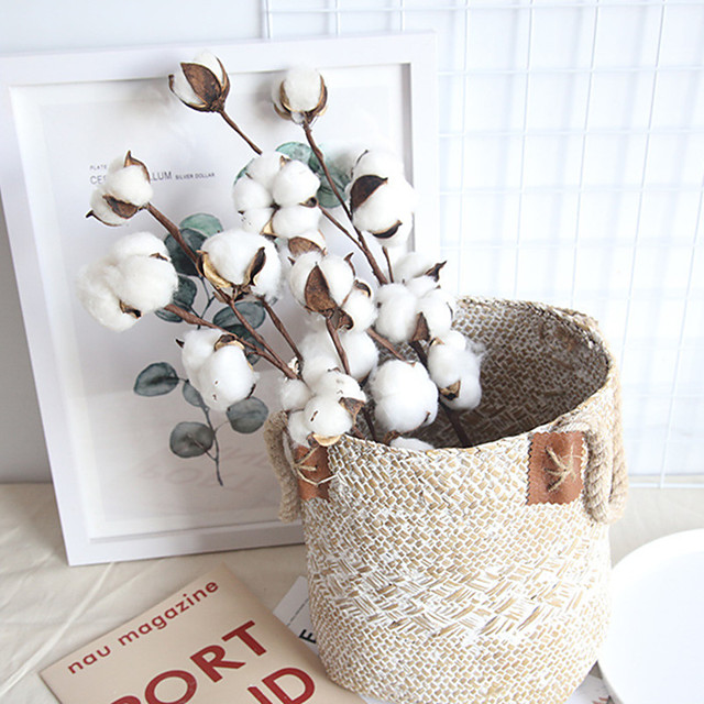 Real Cotton Branch Home Decoration Wedding Plant INS Air-Dry Flower Wedding Wall