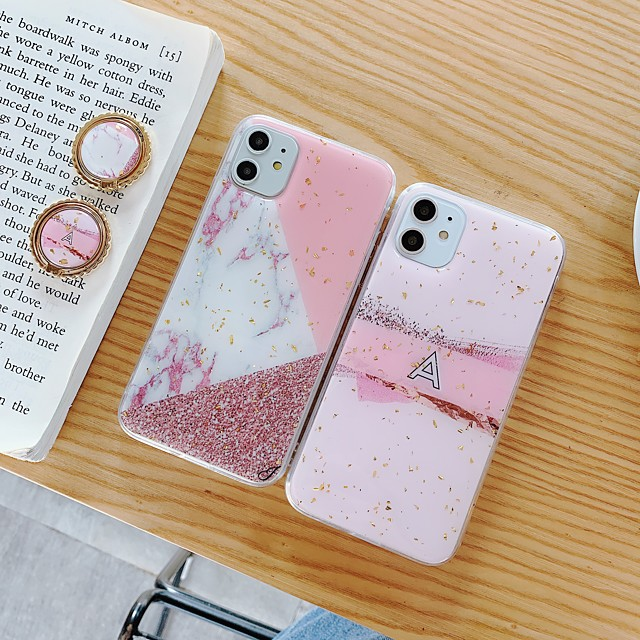 Case For Apple iPhone 11 11 Pro 11 Pro Max New Marbling pattern glitter powder epoxy glue ring bracket thickened TPU all-inclusive mobile phone case