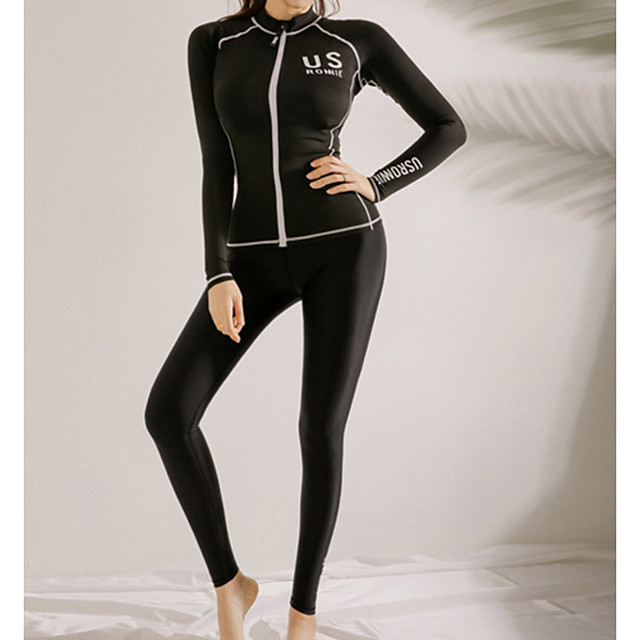 Women's Rash Guard Dive Skin Suit Diving Suit UV Sun Protection Anatomic Design Full Body Front Zip 3-Piece - Diving Water Sports Solid Colored Summer / Micro-elastic